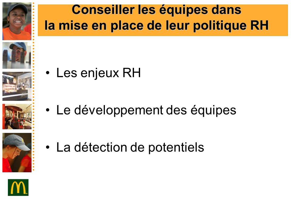Conseiller les équipes dans la mise en place de leur politique RH Les enjeux RH Le développement des équipes La détection de potentiels