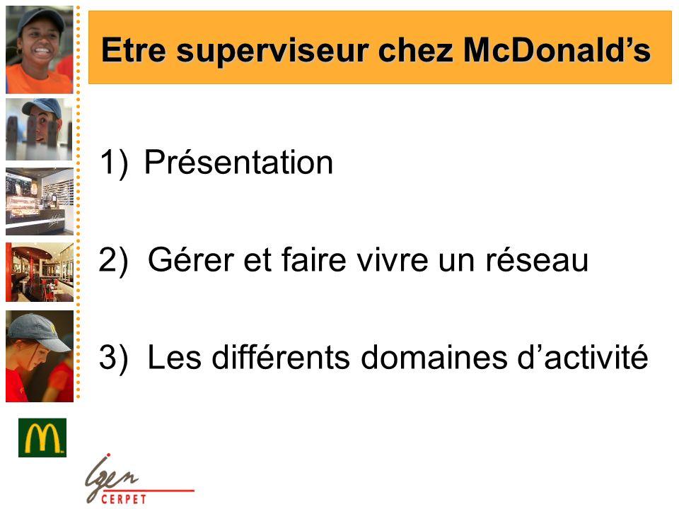 1)Présentation 2) Gérer et faire vivre un réseau 3) Les différents domaines dactivité Etre superviseur chez McDonalds