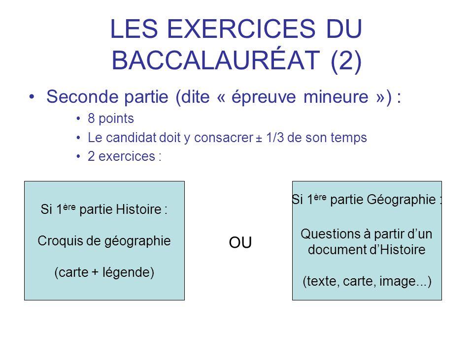 LES EXERCICES DU BACCALAURÉAT (2) Seconde partie (dite « épreuve mineure ») : 8 points Le candidat doit y consacrer ± 1/3 de son temps 2 exercices : S