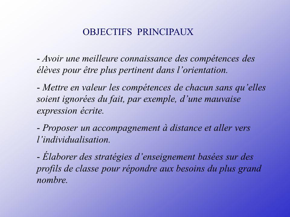 OBJECTIFS PRINCIPAUX - Avoir une meilleure connaissance des compétences des élèves pour être plus pertinent dans lorientation. - Mettre en valeur les