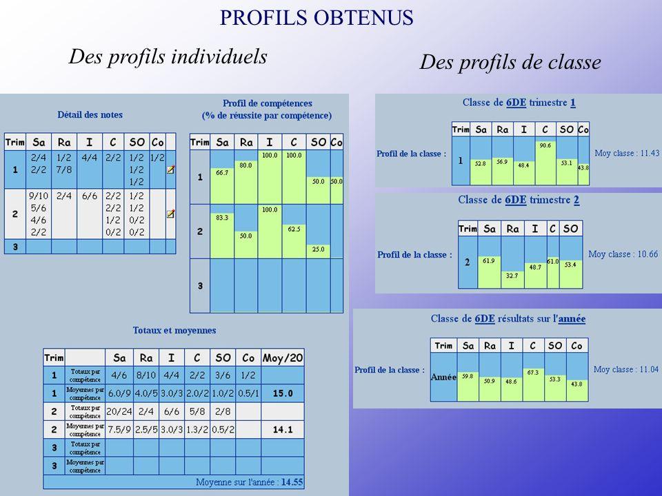 PROFILS OBTENUS Des profils individuels Des profils de classe