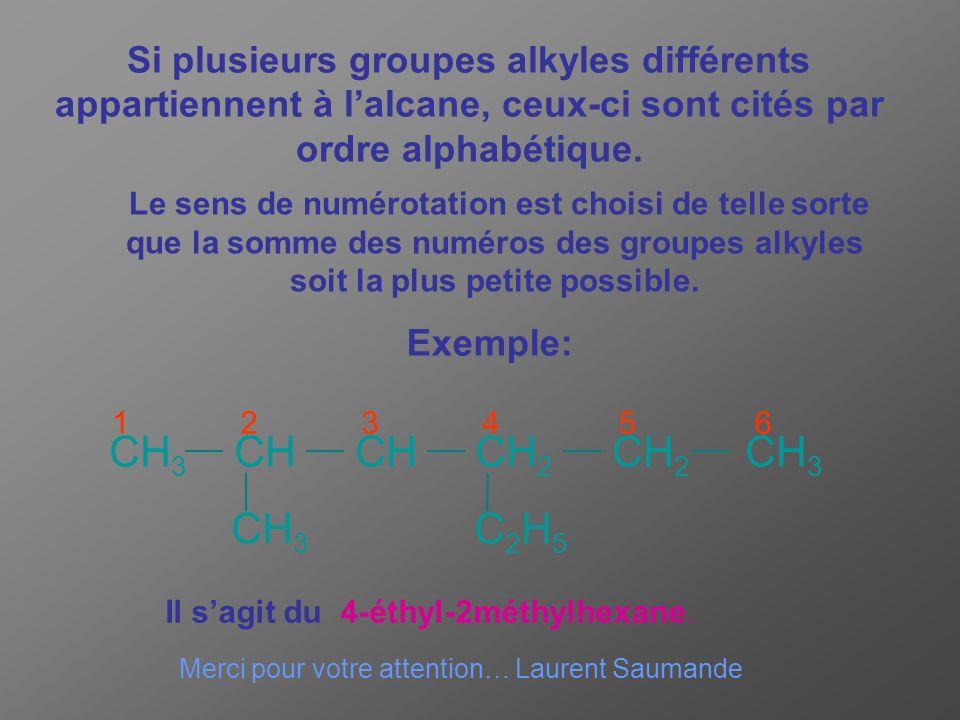 Si plusieurs groupes alkyles différents appartiennent à l alcane, ceux-ci sont cités par ordre alphabétique. CH 3 CH CH CH 2 CH 2 CH 3 CH 3 C 2 H 5 12