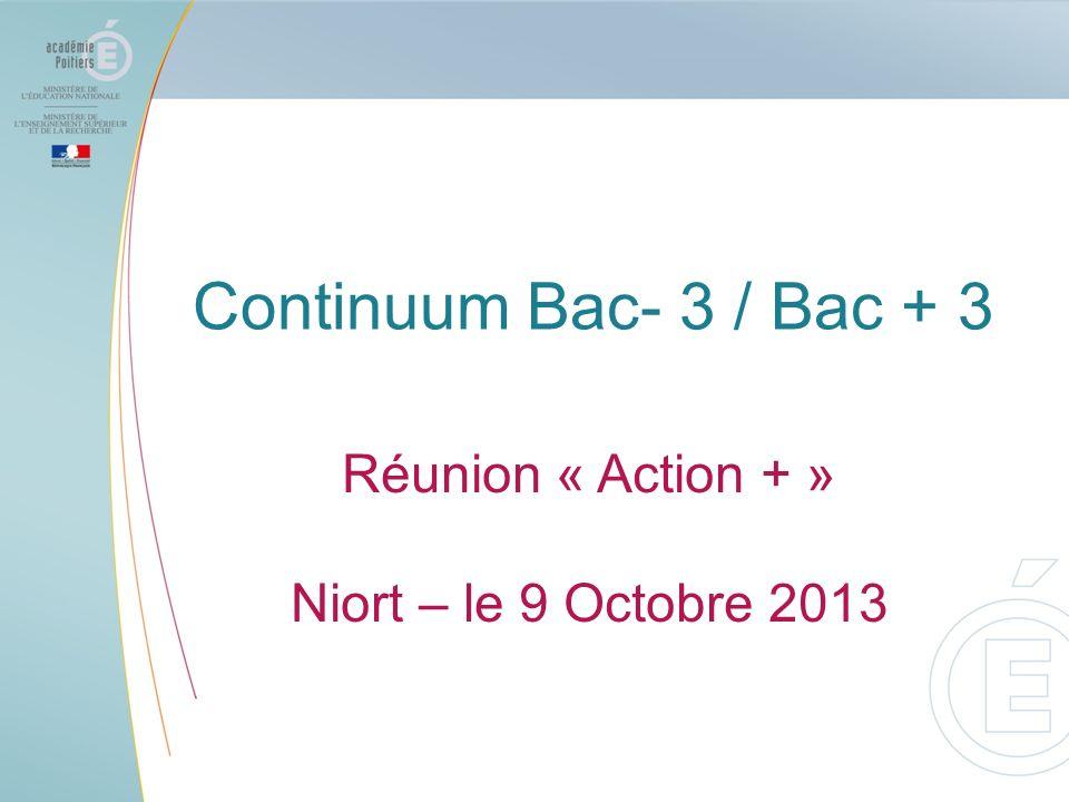 Continuum Bac- 3 / Bac + 3 Réunion « Action + » Niort – le 9 Octobre 2013