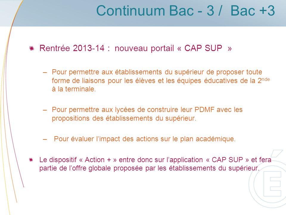 Continuum Bac - 3 / Bac +3 Rentrée 2013-14 : nouveau portail « CAP SUP » –Pour permettre aux établissements du supérieur de proposer toute forme de liaisons pour les élèves et les équipes éducatives de la 2 nde à la terminale.