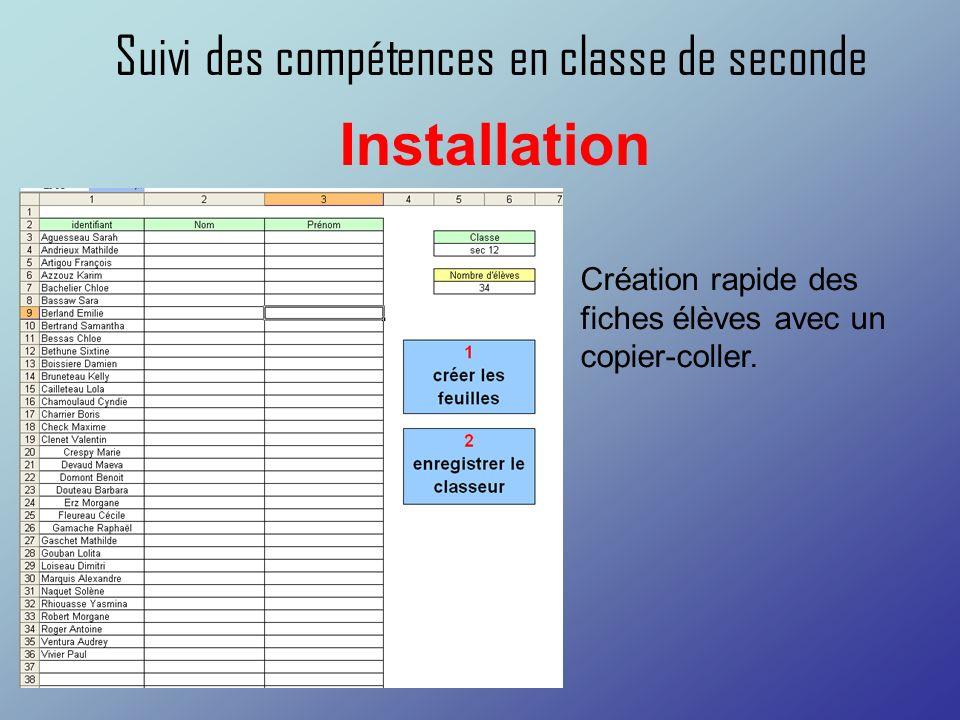 Suivi des compétences en classe de seconde Installation Création rapide des fiches élèves avec un copier-coller.