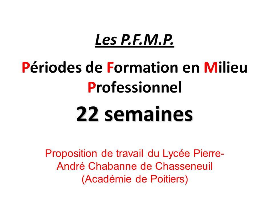 Les P.F.M.P. Périodes de Formation en Milieu Professionnel 22 semaines Proposition de travail du Lycée Pierre- André Chabanne de Chasseneuil (Académie