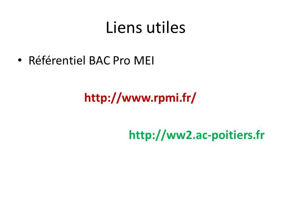 Liens utiles Référentiel BAC Pro MEI http://www.rpmi.fr/ http://ww2.ac-poitiers.fr
