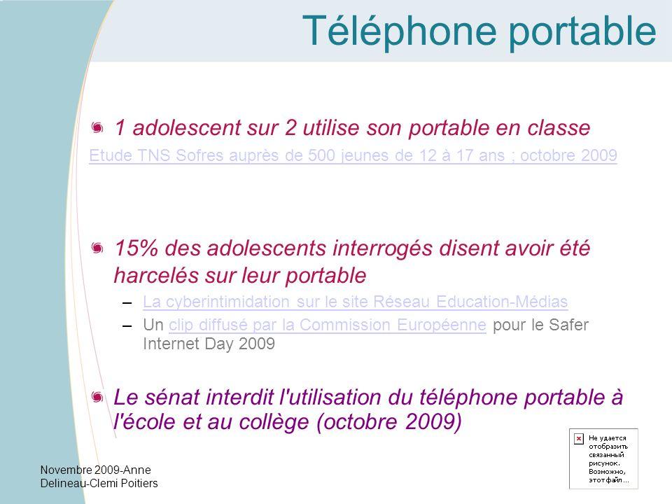Novembre 2009-Anne Delineau-Clemi Poitiers Téléphone portable 1 adolescent sur 2 utilise son portable en classe Etude TNS Sofres auprès de 500 jeunes