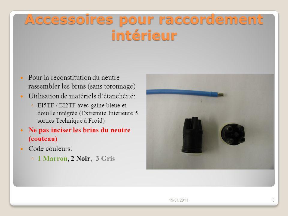 Accessoires pour raccordement extérieur Pour la reconstitution du neutre rassembler les brins (sans toronnage) Utilisation de matériels détanchéité: EE5TF avec gaine noire et douille intégrée (Extrémité Extérieure 5 sorties Technique à Froid) Ne pas inciser les brins du neutre (couteau) Manchon de raccordement de section: 21 mm² (violet) : 16²-25²-35² Alu Réf: MJPB/AS 15/01/20147