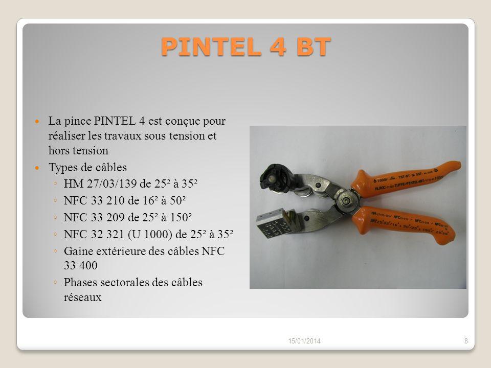 PINTEL 4 BT La pince PINTEL 4 est conçue pour réaliser les travaux sous tension et hors tension Types de câbles HM 27/03/139 de 25² à 35² NFC 33 210 d