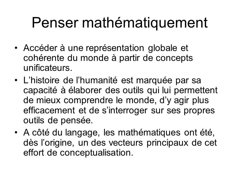 Penser mathématiquement Accéder à une représentation globale et cohérente du monde à partir de concepts unificateurs. Lhistoire de lhumanité est marqu