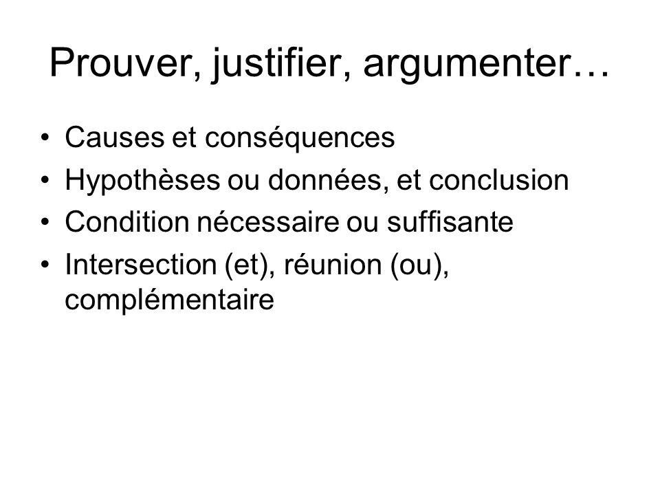 Prouver, justifier, argumenter… Causes et conséquences Hypothèses ou données, et conclusion Condition nécessaire ou suffisante Intersection (et), réun