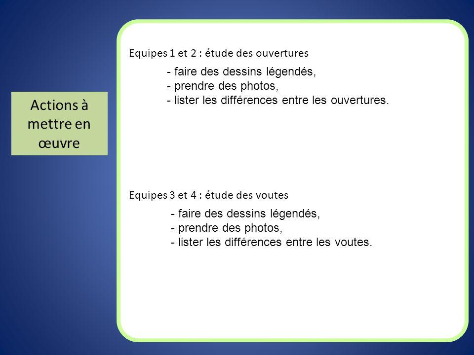 Actions à mettre en œuvre Equipes 1 et 2 : étude des ouvertures Equipes 3 et 4 : étude des voutes - faire des dessins légendés, - prendre des photos,