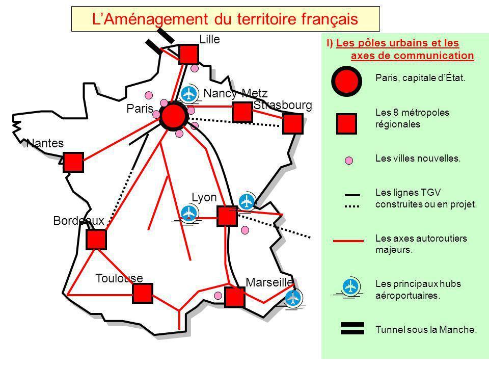 LAménagement du territoire français I) Les pôles urbains et les axes de communication Paris, capitale dÉtat. Les 8 métropoles régionales Les villes no