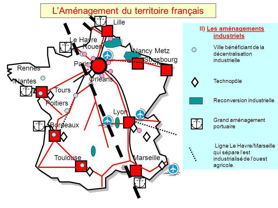 LAménagement du territoire français Toulouse Strasbourg Nancy Metz Lille Nantes Bordeaux Lyon Marseille Paris II) Les aménagements industriels Ville b