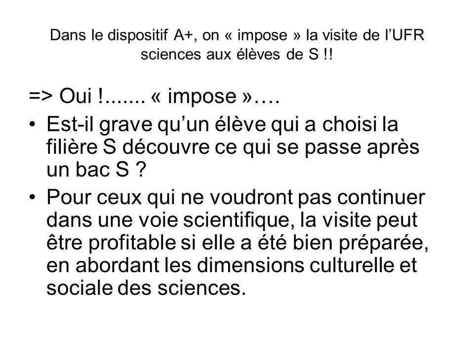 Dans le dispositif A+, on « impose » la visite de lUFR sciences aux élèves de S !.