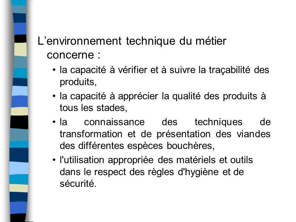 Lenvironnement technique du métier concerne : la capacité à vérifier et à suivre la traçabilité des produits, la capacité à apprécier la qualité des p