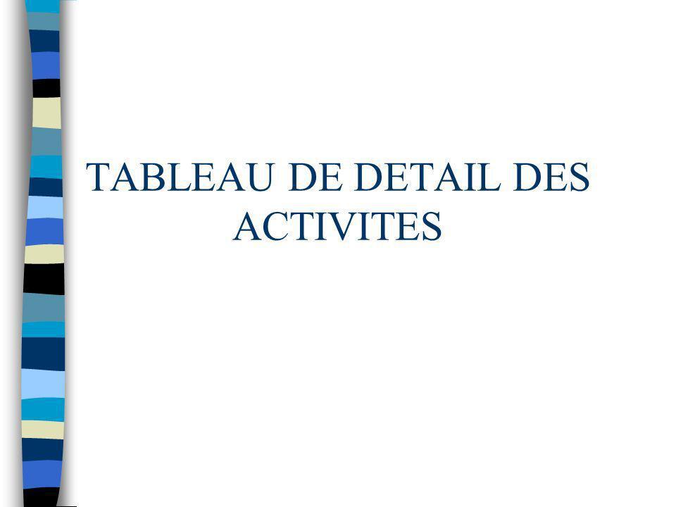 TABLEAU DE DETAIL DES ACTIVITES