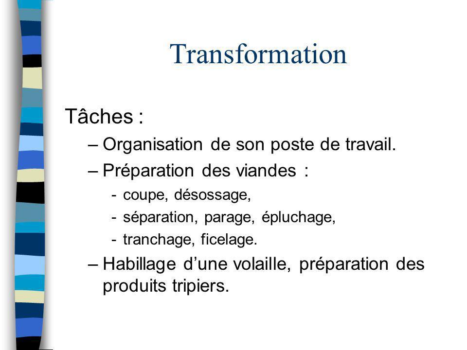 Transformation Tâches : –Organisation de son poste de travail. –Préparation des viandes : -coupe, désossage, -séparation, parage, épluchage, -tranchag