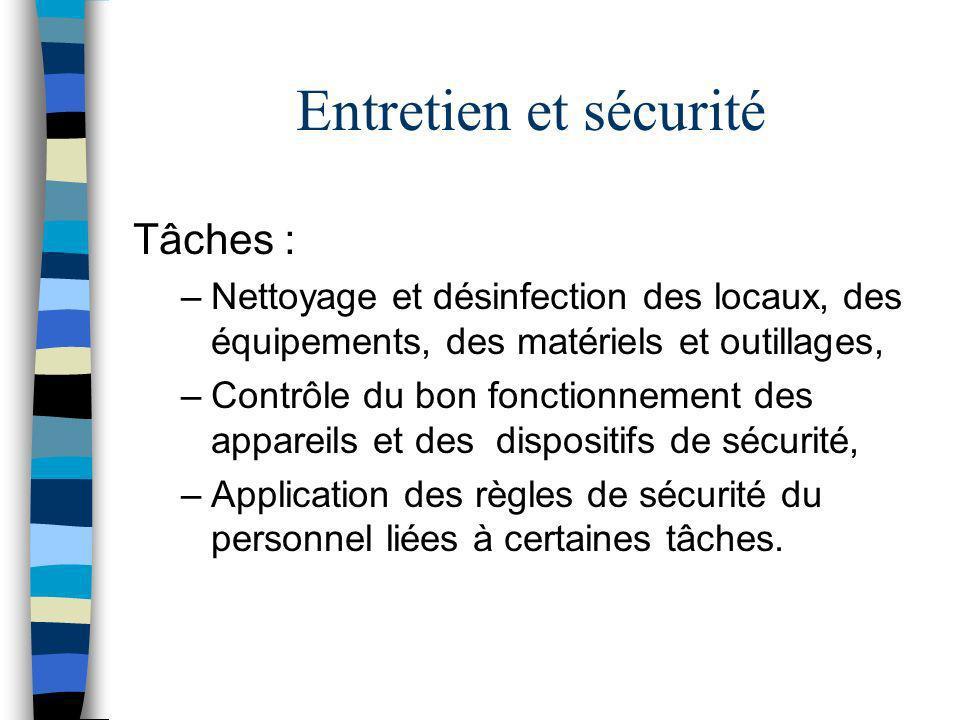Entretien et sécurité Tâches : –Nettoyage et désinfection des locaux, des équipements, des matériels et outillages, –Contrôle du bon fonctionnement de