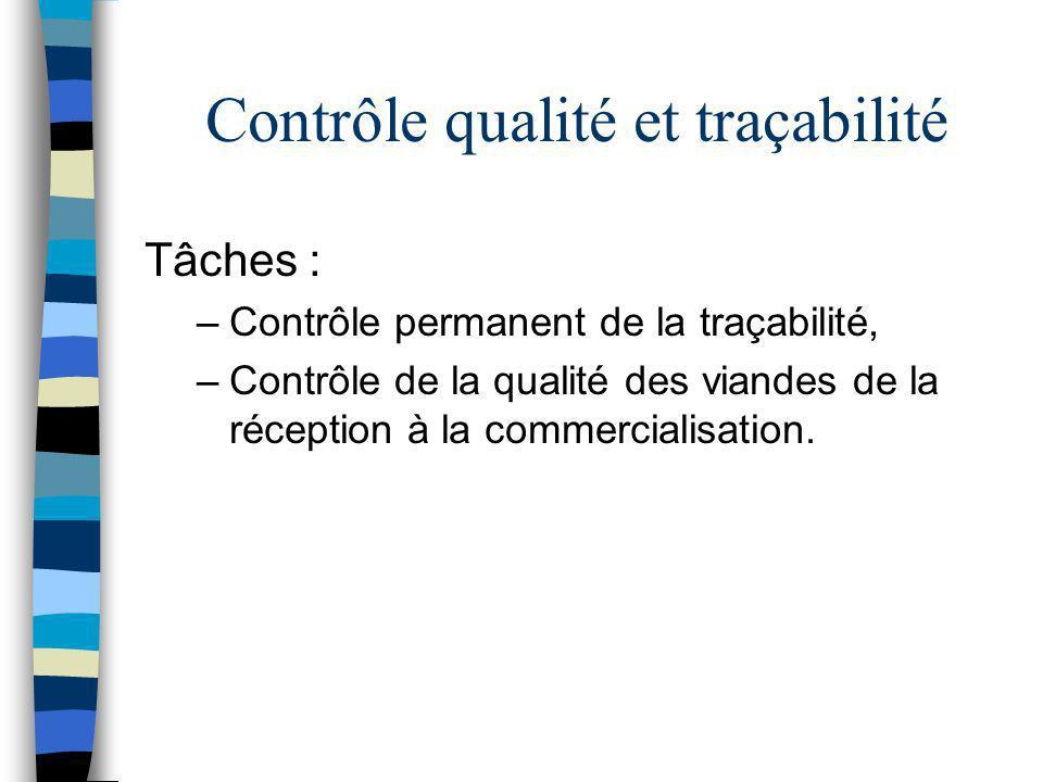 Contrôle qualité et traçabilité Tâches : –Contrôle permanent de la traçabilité, –Contrôle de la qualité des viandes de la réception à la commercialisa