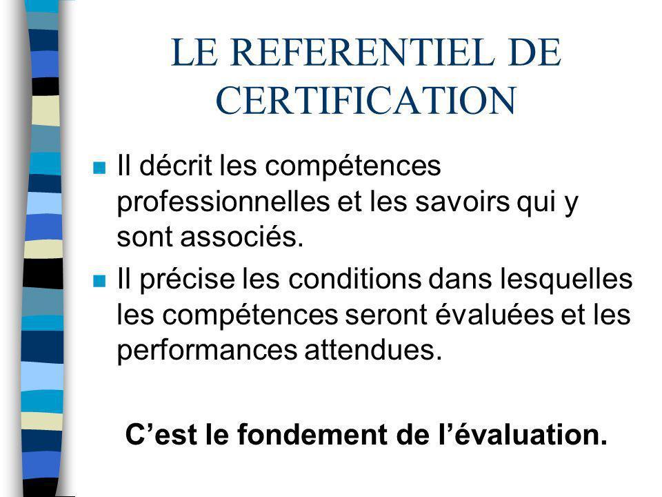 LE REFERENTIEL DE CERTIFICATION n Il décrit les compétences professionnelles et les savoirs qui y sont associés. n Il précise les conditions dans lesq
