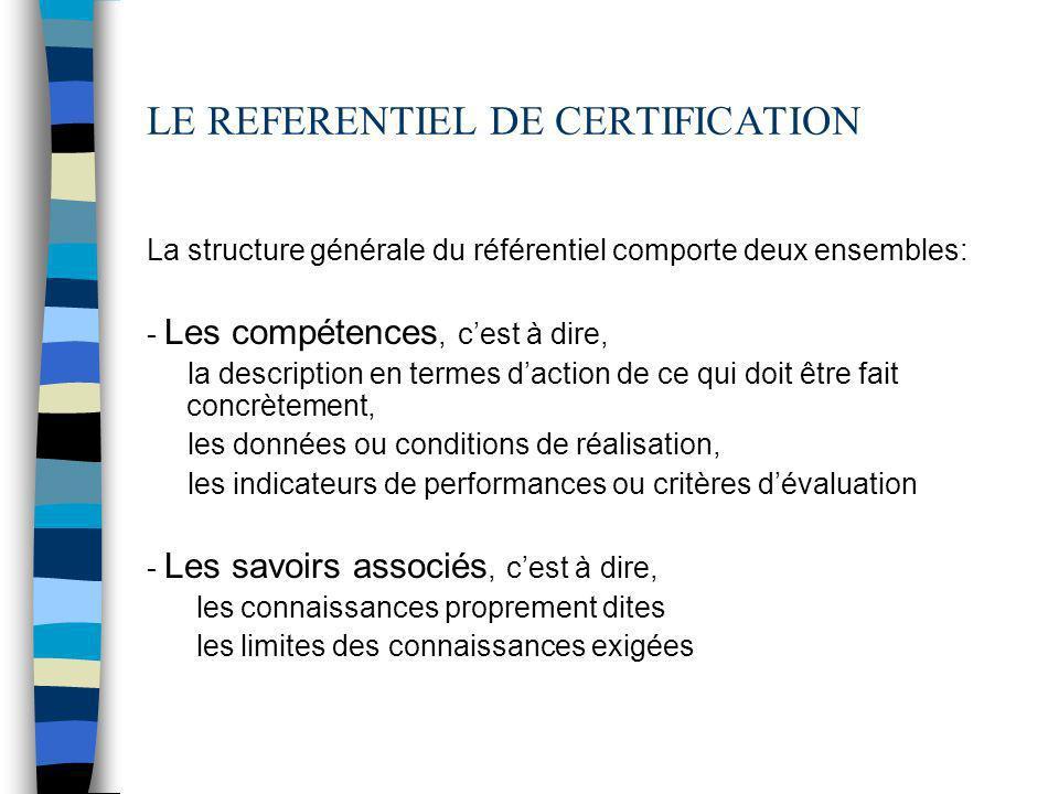 LE REFERENTIEL DE CERTIFICATION La structure générale du référentiel comporte deux ensembles: - Les compétences, cest à dire, la description en termes