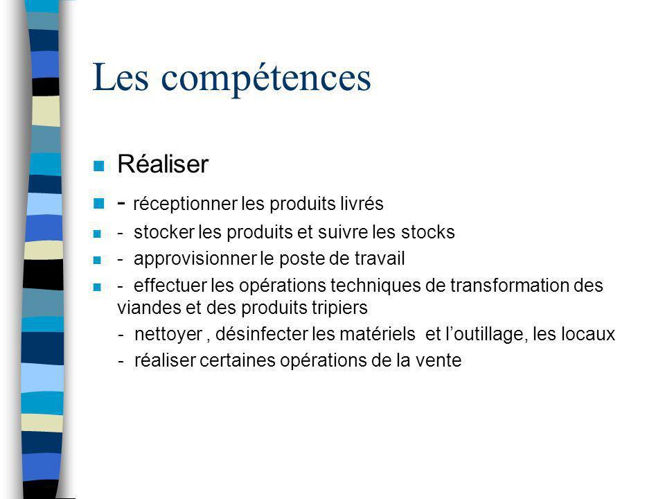 Les compétences n Réaliser n - réceptionner les produits livrés n - stocker les produits et suivre les stocks n - approvisionner le poste de travail n