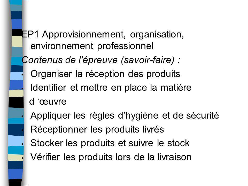 EP1 Approvisionnement, organisation, environnement professionnel Contenus de lépreuve (savoir-faire) : Organiser la réception des produits Identifier