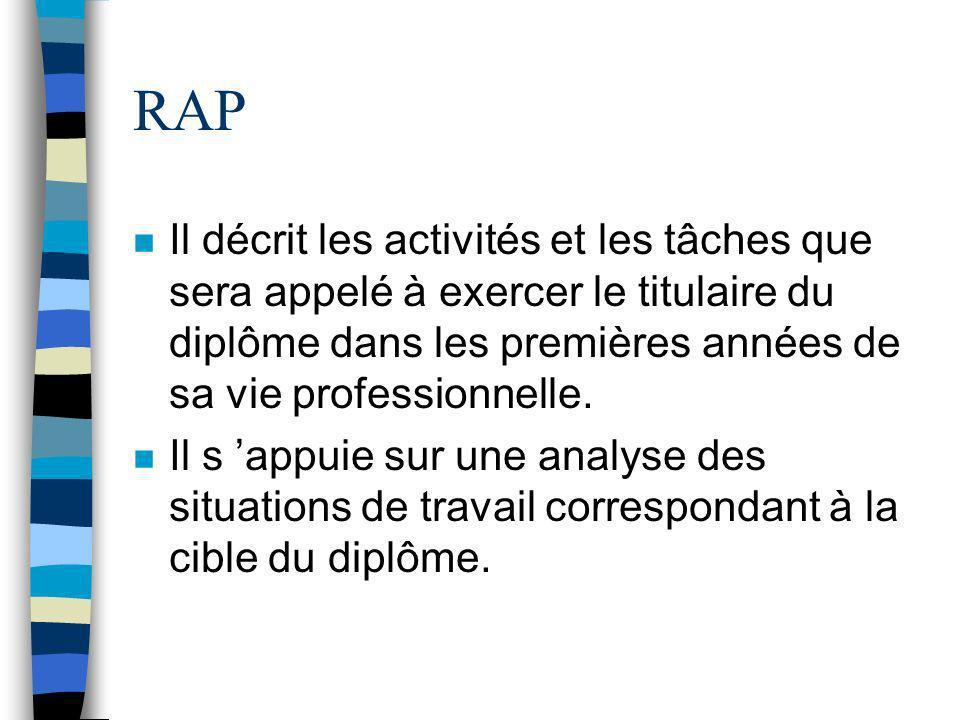 RAP n Il décrit les activités et les tâches que sera appelé à exercer le titulaire du diplôme dans les premières années de sa vie professionnelle. n I