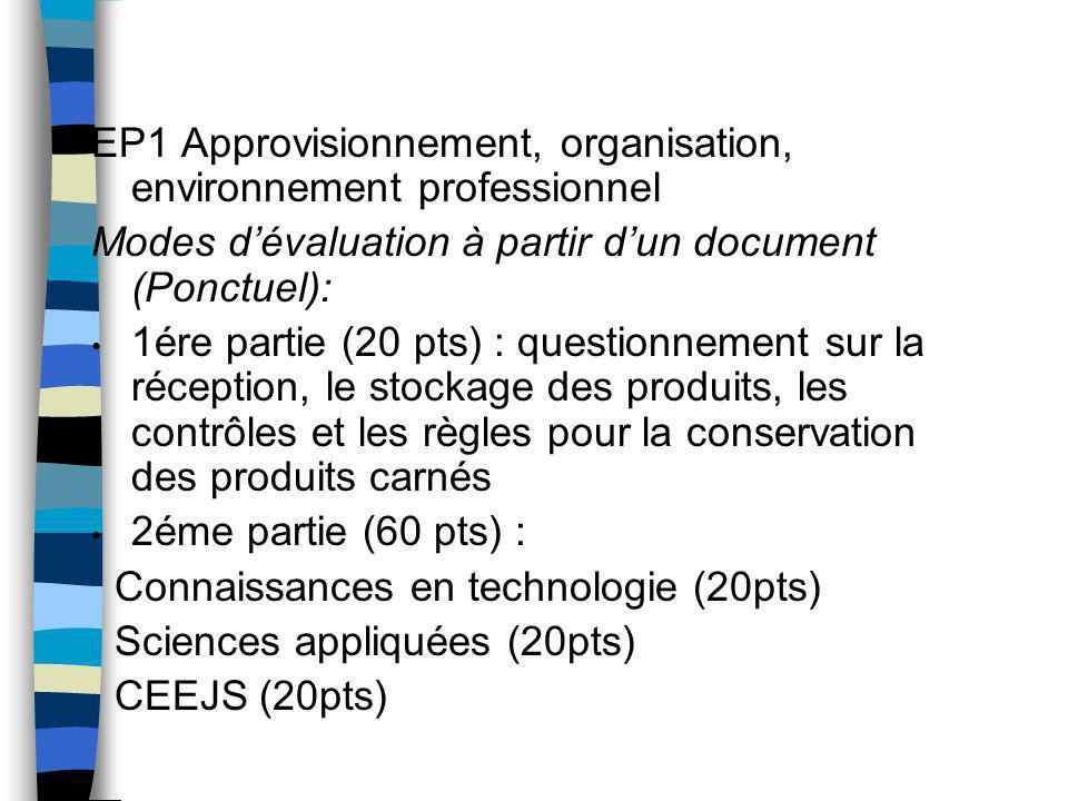 EP1 Approvisionnement, organisation, environnement professionnel Modes dévaluation à partir dun document (Ponctuel): 1ére partie (20 pts) : questionne