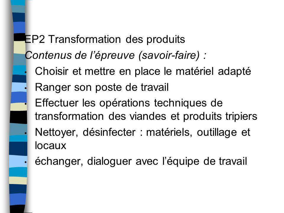 EP2 Transformation des produits Contenus de lépreuve (savoir-faire) : Choisir et mettre en place le matériel adapté Ranger son poste de travail Effect