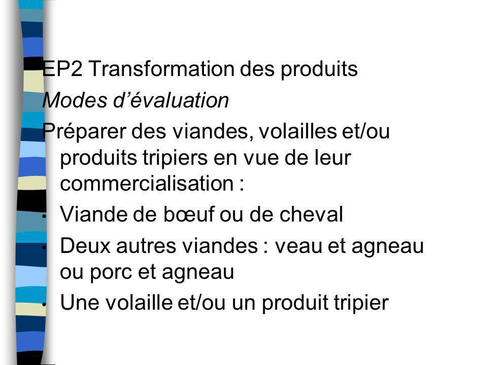 EP2 Transformation des produits Modes dévaluation Préparer des viandes, volailles et/ou produits tripiers en vue de leur commercialisation : Viande de