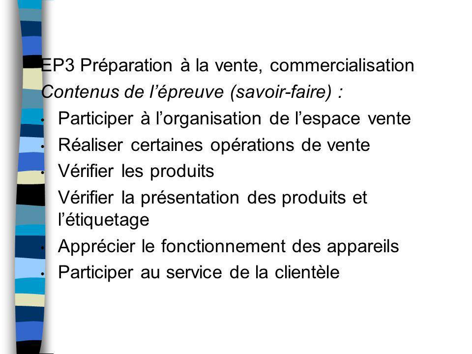 EP3 Préparation à la vente, commercialisation Contenus de lépreuve (savoir-faire) : Participer à lorganisation de lespace vente Réaliser certaines opé