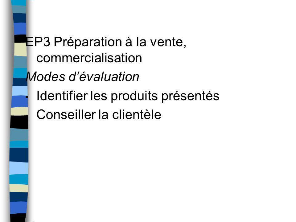 EP3 Préparation à la vente, commercialisation Modes dévaluation Identifier les produits présentés Conseiller la clientèle