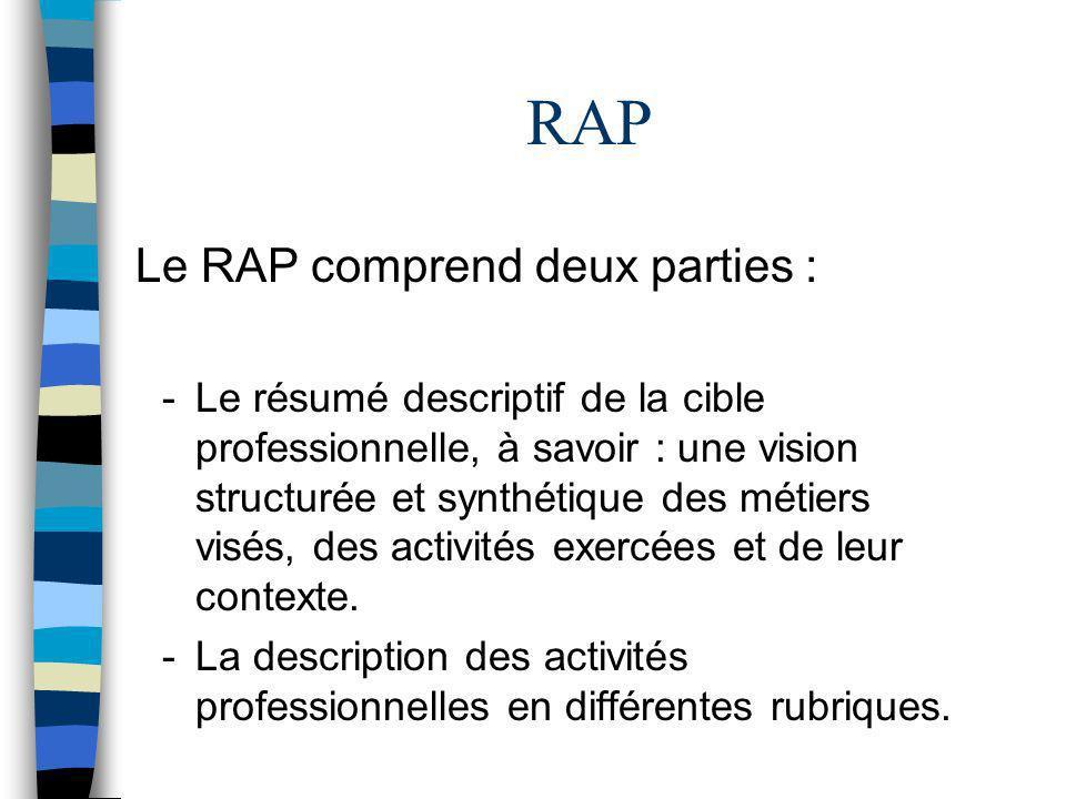 RAP Le RAP comprend deux parties : -Le résumé descriptif de la cible professionnelle, à savoir : une vision structurée et synthétique des métiers visé