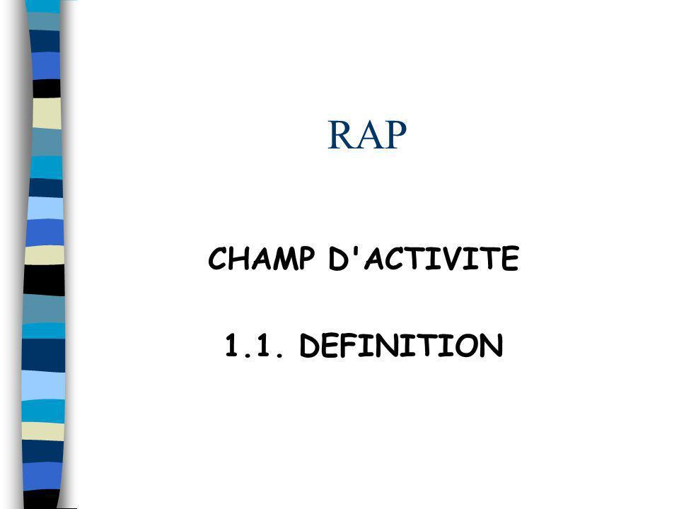 RAP CHAMP D'ACTIVITE 1.1. DEFINITION