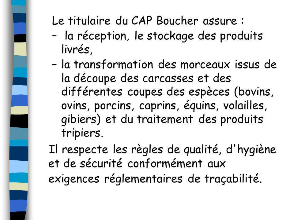 Le titulaire du CAP Boucher assure : – la réception, le stockage des produits livrés, –la transformation des morceaux issus de la découpe des carcasse