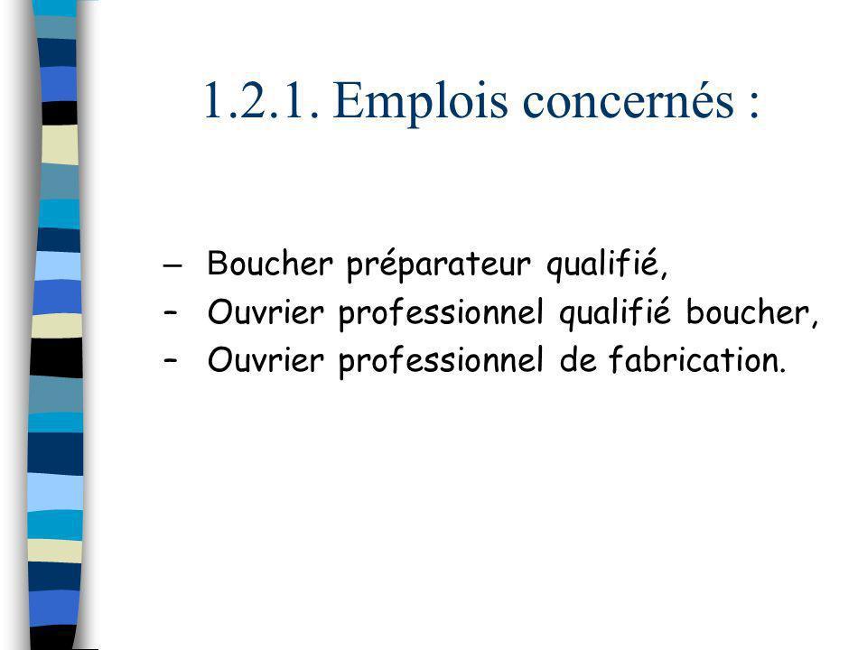 1.2.1. Emplois concernés : –B oucher préparateur qualifié, –Ouvrier professionnel qualifié boucher, –Ouvrier professionnel de fabrication.