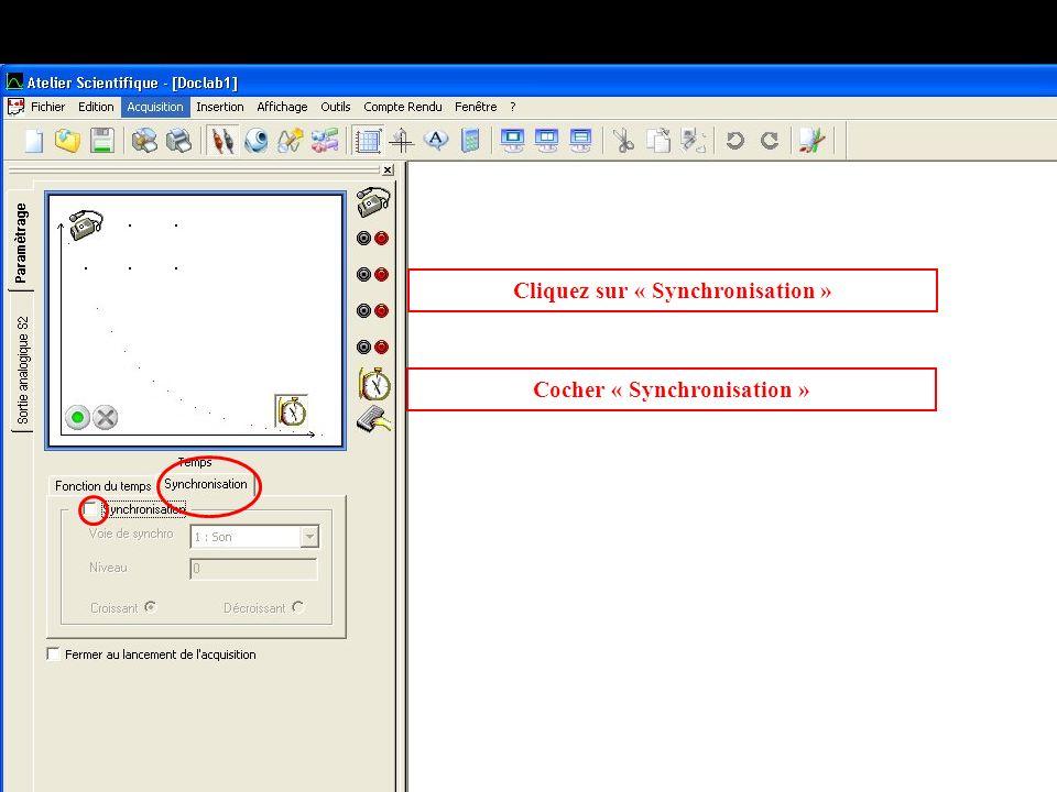 Cliquez sur « Synchronisation » Cocher « Synchronisation »