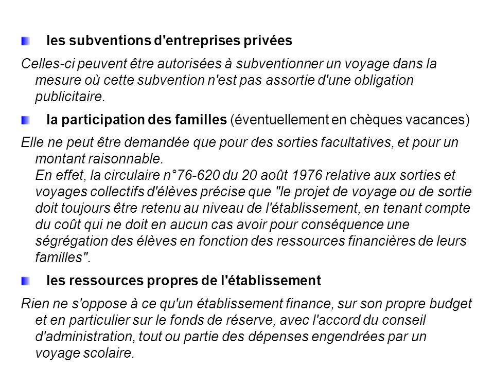 les subventions d entreprises privées Celles-ci peuvent être autorisées à subventionner un voyage dans la mesure où cette subvention n est pas assortie d une obligation publicitaire.