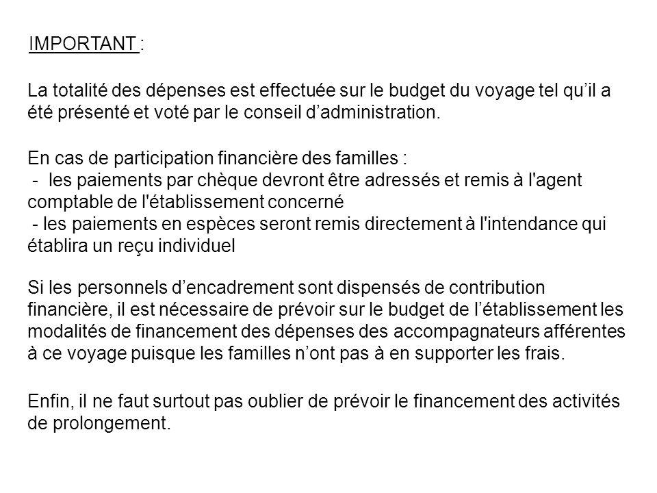 IMPORTANT : La totalité des dépenses est effectuée sur le budget du voyage tel quil a été présenté et voté par le conseil dadministration.