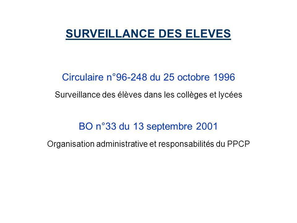 Circulaire n°96-248 du 25 octobre 1996 SURVEILLANCE DES ELEVES Surveillance des élèves dans les collèges et lycées BO n°33 du 13 septembre 2001 Organisation administrative et responsabilités du PPCP
