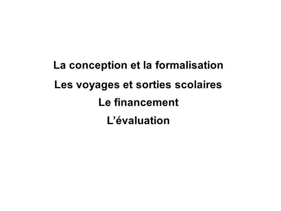 La conception et la formalisation Les voyages et sorties scolaires Le financement Lévaluation