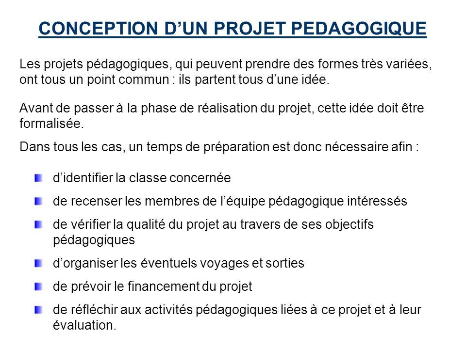 CONCEPTION DUN PROJET PEDAGOGIQUE Les projets pédagogiques, qui peuvent prendre des formes très variées, ont tous un point commun : ils partent tous dune idée.