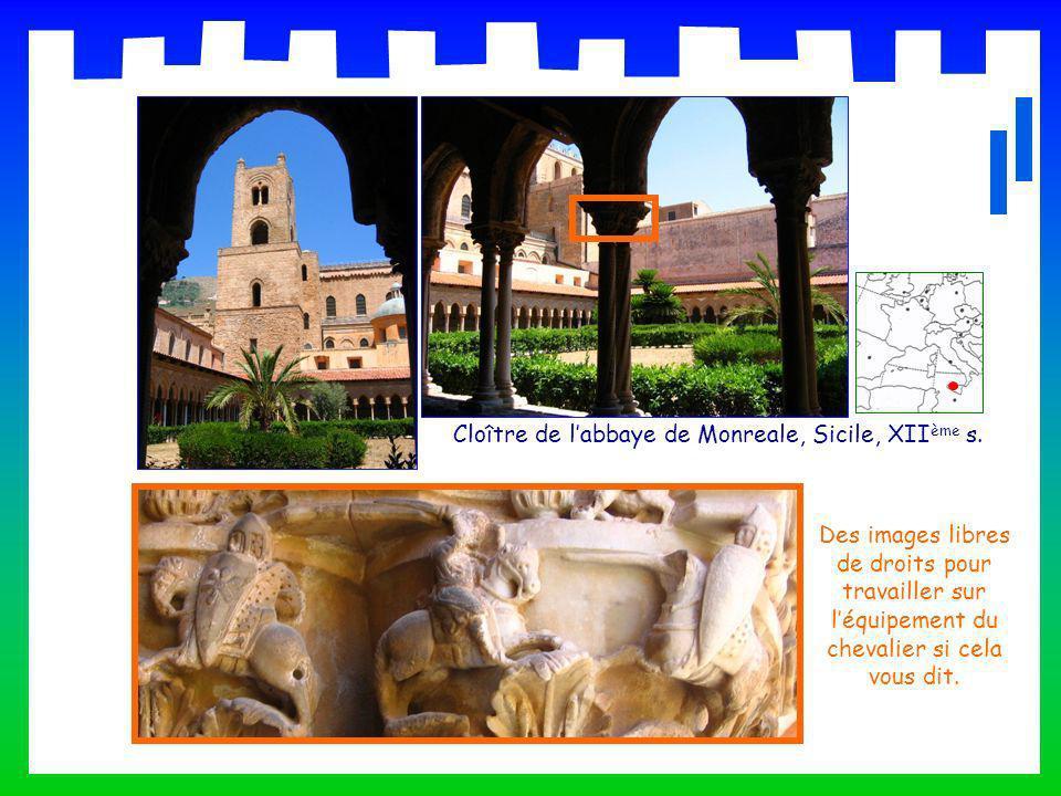 Cloître de labbaye de Monreale, Sicile, XII ème s. Des images libres de droits pour travailler sur léquipement du chevalier si cela vous dit.