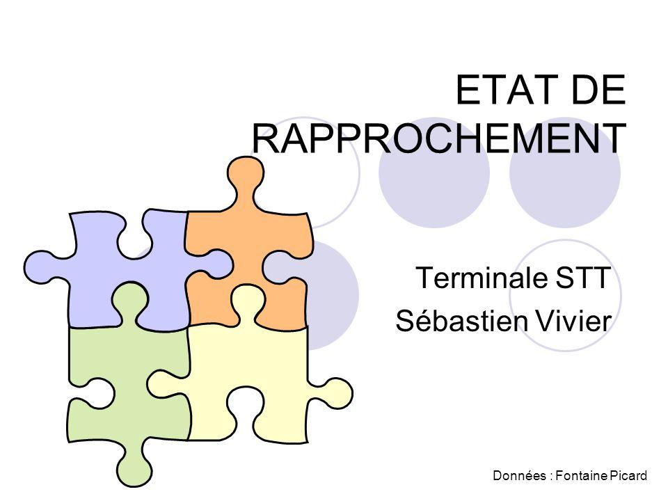 ETAT DE RAPPROCHEMENT Terminale STT Sébastien Vivier Données : Fontaine Picard