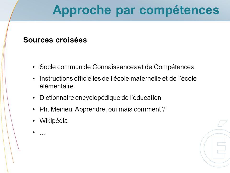 Approche par compétences Socle commun de Connaissances et de Compétences Instructions officielles de lécole maternelle et de lécole élémentaire Dictio