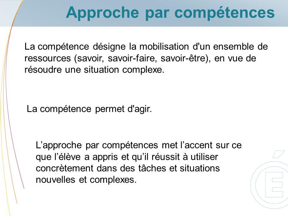 La compétence désigne la mobilisation d'un ensemble de ressources (savoir, savoir-faire, savoir-être), en vue de résoudre une situation complexe. La c