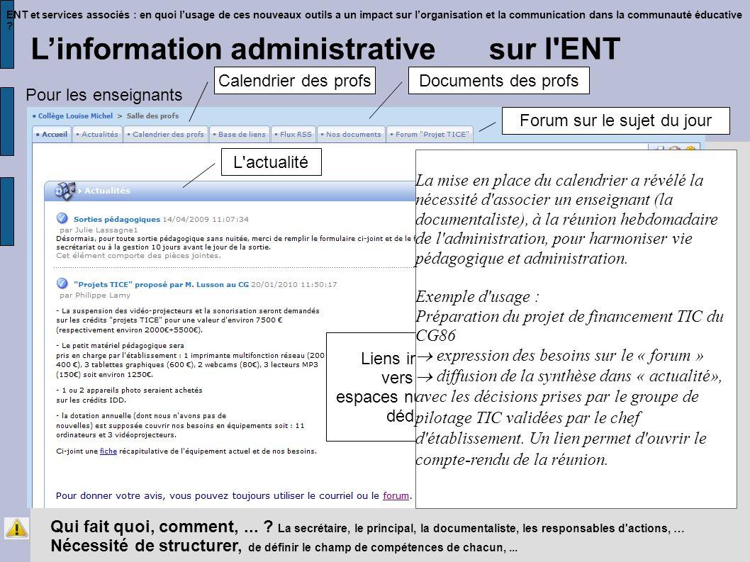 ENT et services associés : en quoi lusage de ces nouveaux outils a un impact sur lorganisation et la communication dans la communauté éducative .